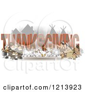 Cartoon Of Turkey Birds Pilgrims And Native American Indians Around The Word THANKSGIVING Royalty Free Clipart