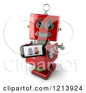 Clipart Of A 3d Red Vintage Robot Holding A Thumb Up And A Smart Phone With A Picture On The Screen Royalty Free CGI Illustration
