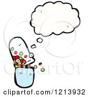 Cartoon Of A Pill Capsule Thinking Royalty Free Vector Illustration by lineartestpilot