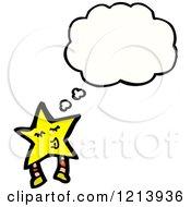 Cartoon Of A Golden Star Thinking Royalty Free Vector Illustration