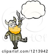Cartoon Of A Viking Thinking Royalty Free Vector Illustration by lineartestpilot