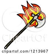 Cartoon Of A Flaming Medieval Ax Royalty Free Vector Illustration