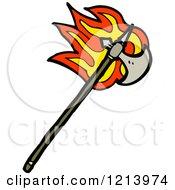 Cartoon Of A Flaming Ax Royalty Free Vector Illustration