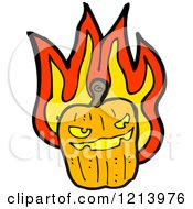 Cartoon Of A Flaming Jack O Lantern Royalty Free Vector Illustration by lineartestpilot