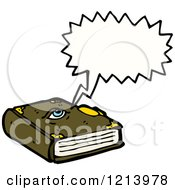 Cartoon Of A Speaking Spell Book Royalty Free Vector Illustration by lineartestpilot