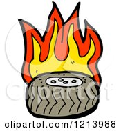 Cartoon Of A Flaming Tire Royalty Free Vector Illustration by lineartestpilot