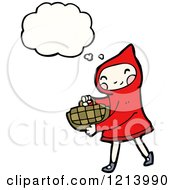Cartoon Of Little Red Riding Hood Thinking Royalty Free Vector Illustration