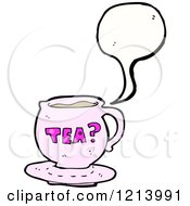 Cartoon Of A Speaking Teacup Royalty Free Vector Illustration by lineartestpilot