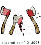 Cartoon Of Bloody Hatchets Royalty Free Vector Illustration