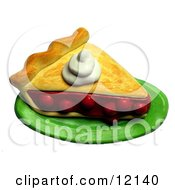 3d Dollop Of Whipped Cream On A Slice Of Cherry Pie