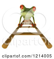 Clipart Of A 3d Springer Frog Climbing A Ladder Royalty Free Illustration