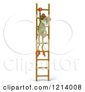 Clipart Of A 3d Springer Frog Hanging From A Ladder 2 Royalty Free Illustration by Julos