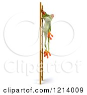 Clipart Of A 3d Springer Frog Hanging From A Ladder Royalty Free Illustration by Julos