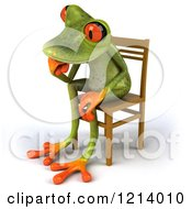 Clipart Of A 3d Springer Frog Thinking And Sitting In A Chair 2 Royalty Free Illustration