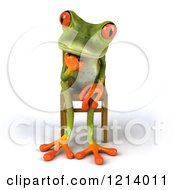 Clipart Of A 3d Springer Frog Thinking And Sitting In A Chair 3 Royalty Free Illustration