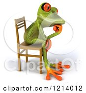 Clipart Of A 3d Springer Frog Thinking And Sitting In A Chair Royalty Free Illustration