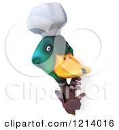 Clipart Of A 3d Chef Mallard Duck Pointing Around A Sign Royalty Free Illustration