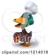 Clipart Of A 3d Chef Mallard Duck Playing A Guitar Royalty Free Illustration