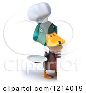 Clipart Of A 3d Chef Mallard Duck Holding A Plate Around A Sign Royalty Free Illustration