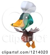 Clipart Of A 3d Chef Mallard Duck Flying Royalty Free Illustration