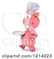Clipart Of A 3d Chef Pig Walking With A Plate Royalty Free Illustration by Julos
