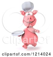 Clipart Of A 3d Chef Pig Running With A Plate Royalty Free Illustration by Julos