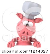 Clipart Of A 3d Chef Pig Looking Down At A Sign Royalty Free Illustration by Julos
