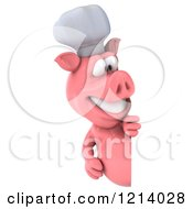 Clipart Of A 3d Chef Pig Looking Around A Sign Royalty Free Illustration by Julos