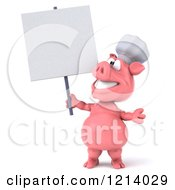 Clipart Of A 3d Chef Pig Holding A Sign Royalty Free Illustration by Julos