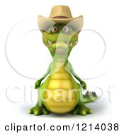 Clipart Of A 3d Crocodile Wearing A Cowboy Hat Royalty Free Illustration by Julos