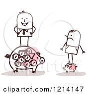 Clipart Of Poor And Rich Stick People Men Standing On Piggy Banks Royalty Free Vector Illustration
