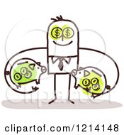 Stick People Business Man Investor Holding Dollar Piggy Banks