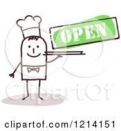 Stick People Business Man Chef Under An Open Sign