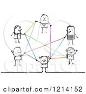 Clipart Of A Network Of Stick Business People With Colorful Lines Royalty Free Vector Illustration