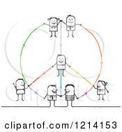Clipart Of A Peace Shaped Network Of Stick Business People Royalty Free Vector Illustration