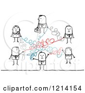 Clipart Of A Network Of Stick Business People With Scribbled Lines Royalty Free Vector Illustration