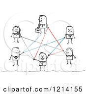 Clipart Of A Network Of Stick Business People Royalty Free Vector Illustration