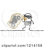 Clipart Of A Stick People Robber Man Carrying A Motorcycle In A Sack Royalty Free Vector Illustration