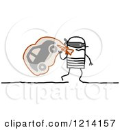 Clipart Of A Stick People Robber Man Carrying A Car In A Sack Royalty Free Vector Illustration by NL shop