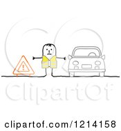 Stick People Road Man Between A Sign And Broken Down Car
