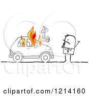 Clipart Of A Stick People Business Man By A Burning Car Royalty Free Vector Illustration by NL shop
