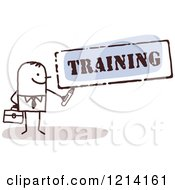 Clipart Of A Stick People Business Man Holding A Marker Under The Word TRAINING Royalty Free Vector Illustration