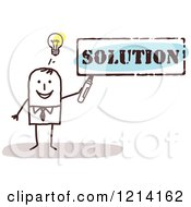 Clipart Of A Stick People Business Man Holding A Marker Under The Word SOLUTION Royalty Free Vector Illustration