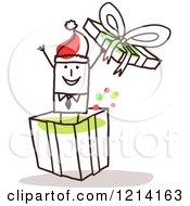 Clipart Of A Stick People Business Man Popping Out Of A Christmas Gift Box Royalty Free Vector Illustration by NL shop