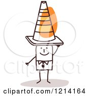 Clipart Of A Stick People Business Man Wearing A Construction Cone On His Head Royalty Free Vector Illustration