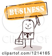 Clipart Of A Stick People Business Man Holding A Marker Under The Word BUSINESS Royalty Free Vector Illustration