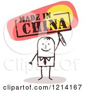 Clipart Of A Stick People Business Man Holding A Marker Under MADE IN CHINA Royalty Free Vector Illustration