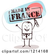 Clipart Of A Stick People Business Man Holding A Marker Under MADE IN FRANCE Royalty Free Vector Illustration