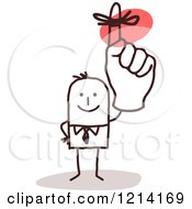 Clipart Of A Stick People Business Man Holding Up A Reminder Finger Royalty Free Vector Illustration