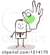 Clipart Of A Stick People Business Man Gesturing Ok Royalty Free Vector Illustration
